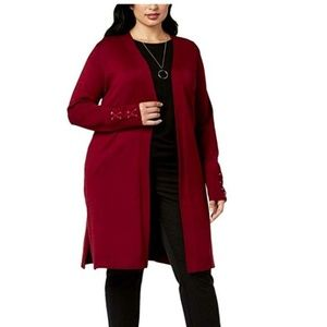 JM Collection 1X Cherry Red Duster Cardigan 4Z64